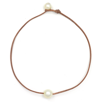 Fine Pearls and Leather Jewelry by Designer Wendy Mignot South Sea Single Necklace Golden White