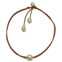 Fine Pearls and Leather Jewelry by Designer Wendy Mignot Signature South Sea Necklace White