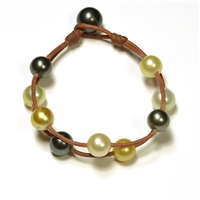 Fine Pearls and Leather Jewelry by Designer Wendy Mignot Music Two Strand Tahitian Mixed Bracelet