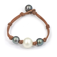 Fine Pearls and Leather Jewelry by Designer Wendy Mignot Three Pearl South Sea White, Tahitian Bracelet