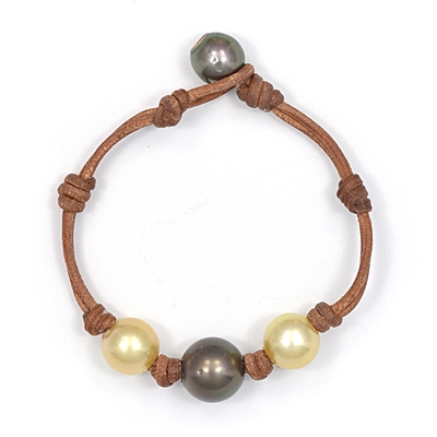 Fine Pearls and Leather Jewelry by Designer Wendy Mignot Three Pearl Tahitian, South Sea Gold Bracelet