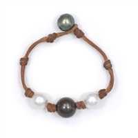 Fine Pearls and Leather Jewelry by Designer Wendy Mignot Three Pearl South Sea White 2, Tahitian Bracelet