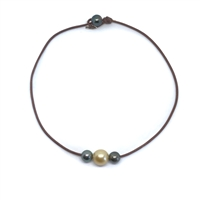 Fine Pearls and Leather Jewelry by Designer Wendy Mignot Daisy Tahitian and South Sea Gold Necklace