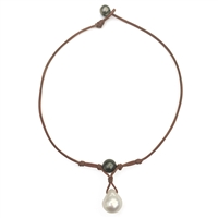 Fine Pearls and Leather Jewelry by Designer Wendy Mignot Grove Tahitian and South Sea Necklace