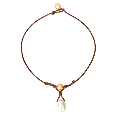 Fine Pearls and Leather Jewelry by Designer Wendy Mignot Grove South Sea Gold and South Sea White Necklace