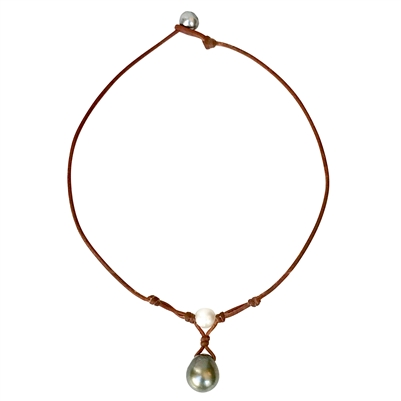Fine Pearls and Leather Jewelry by Designer Wendy Mignot Grove South Sea White and Tahitian Necklace