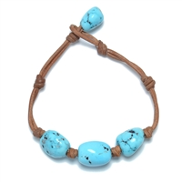 Fine Pearls and Leather Jewelry by Designer Wendy Mignot Turquoise Three Gem Bracelet Limited Edition
