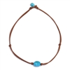 Fine Pearls and Leather Jewelry by Designer Wendy Mignot Turquoise Zak with Knots Necklace, Limited Edition