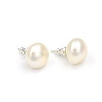 Fine Pearls and Leather Jewelry by Designer Wendy Mignot Chloe Petite Freshwater Pearl Stud Earrings White