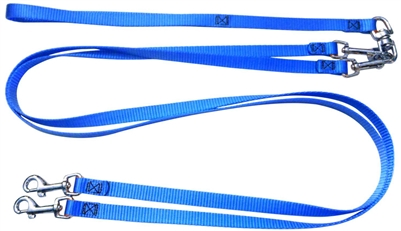 Pet Walker Plus No Tangle Leash for 2 Dogs - Small / Blue