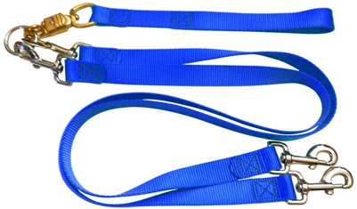 Pet Walker Plus No Tangle Leash for 2 Dogs - Large / Blue
