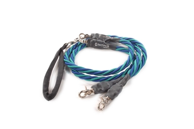 Bun-Gee Pup-EE Double Walker Dog Leash - X-Large / Teal/Blue