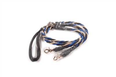 Bun-Gee Pup-EE Double Walker Dog Leash - Large / Blue/Black/Gold
