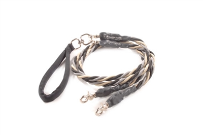 Bun-Gee Pup-EE Double Walker Dog Leash - Large / Black/Gold/Grey