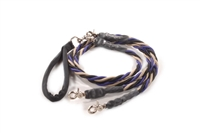 Bun-Gee Pup-EE Double Walker Dog Leash - Large / Purple/Black/Gold
