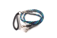Bun-Gee Pup-EE Double Walker Dog Leash - Large / Teal/Blue/Black
