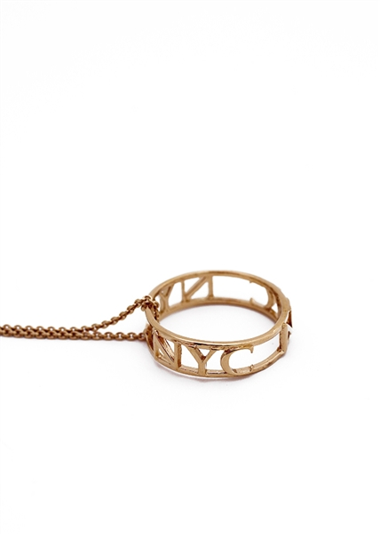 The Janesko Traveler NYC City Ring necklace.