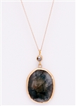 Custom sapphire slice and brown diamond in yellow gold necklace by Janesko