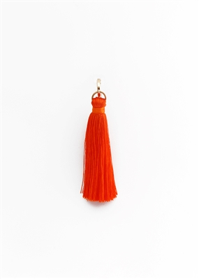 Custom Hoop Orange Silk Tassel Earrings