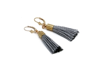 Custom Small Lever Grey Silk Tassel Earrings