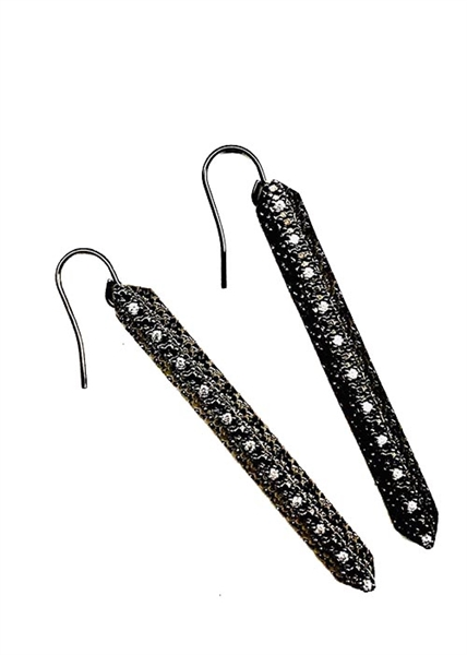 Custom Black Stick Earrings With Set Crystal Stones