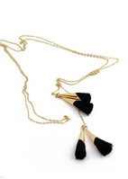 Custom Gold Necklace With Black Tassels by Janesko