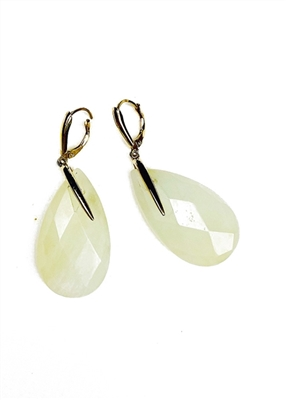 Custom Tong Earrings With Jade Stones