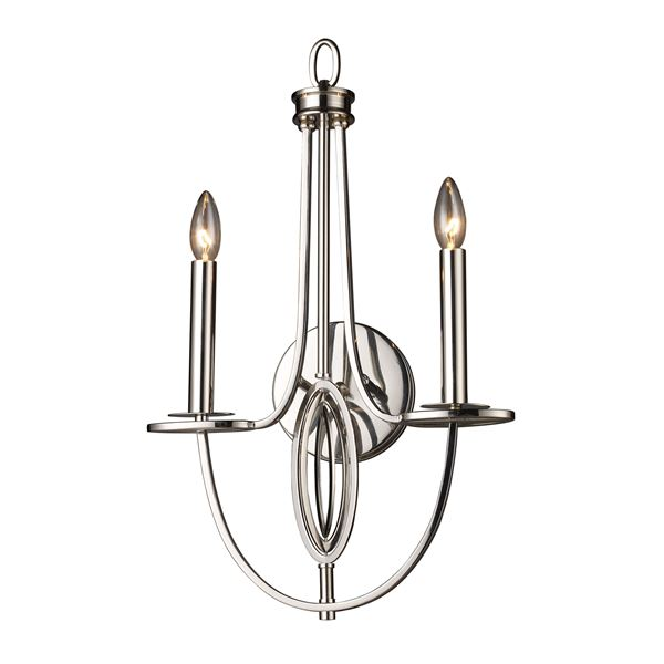 Dione 2 Light Wall Sconce In Polished Nickel