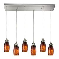 Milan 6 Light Pendant In Satin Nickel And Espresso Glass