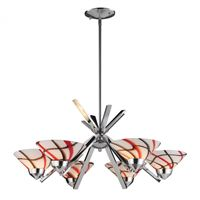 Refraction 6Lt Chandelier In Polished Chrome And Creme White Glass