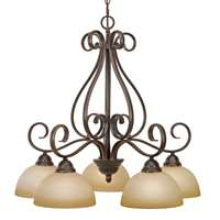 Golden Riverton PC 5 Light Nook Chandelier Peppercorn 1567-D5 PC
