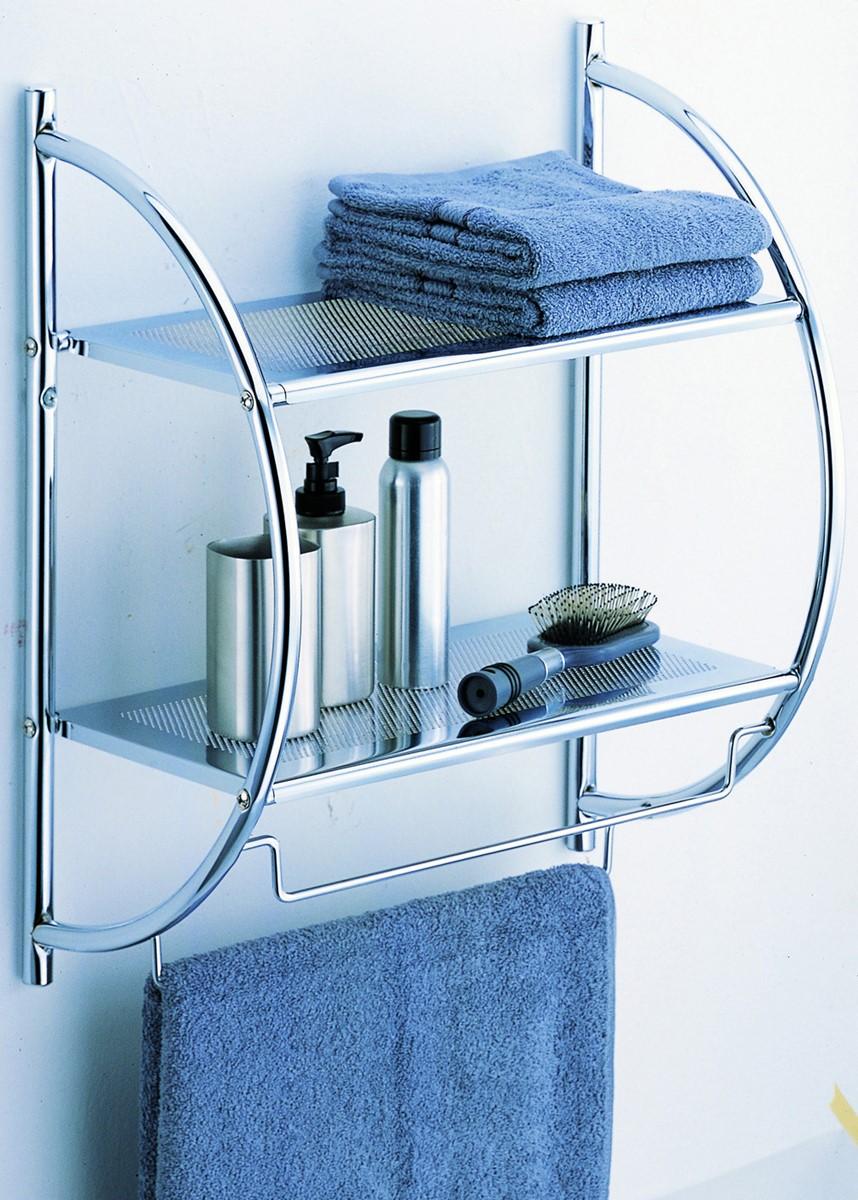 2 tier Shelf w. Towel Bars - 1753W-1
