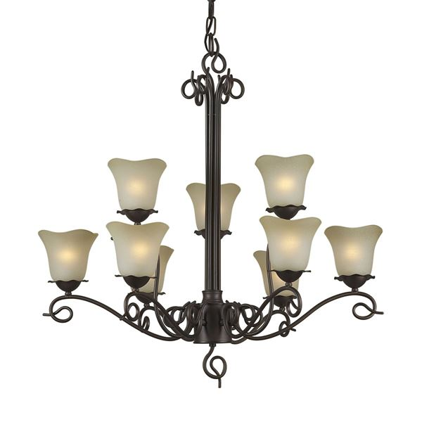 Forte Lighting 3+6 LT Chandelier in Antique Bronze 2363-09-32