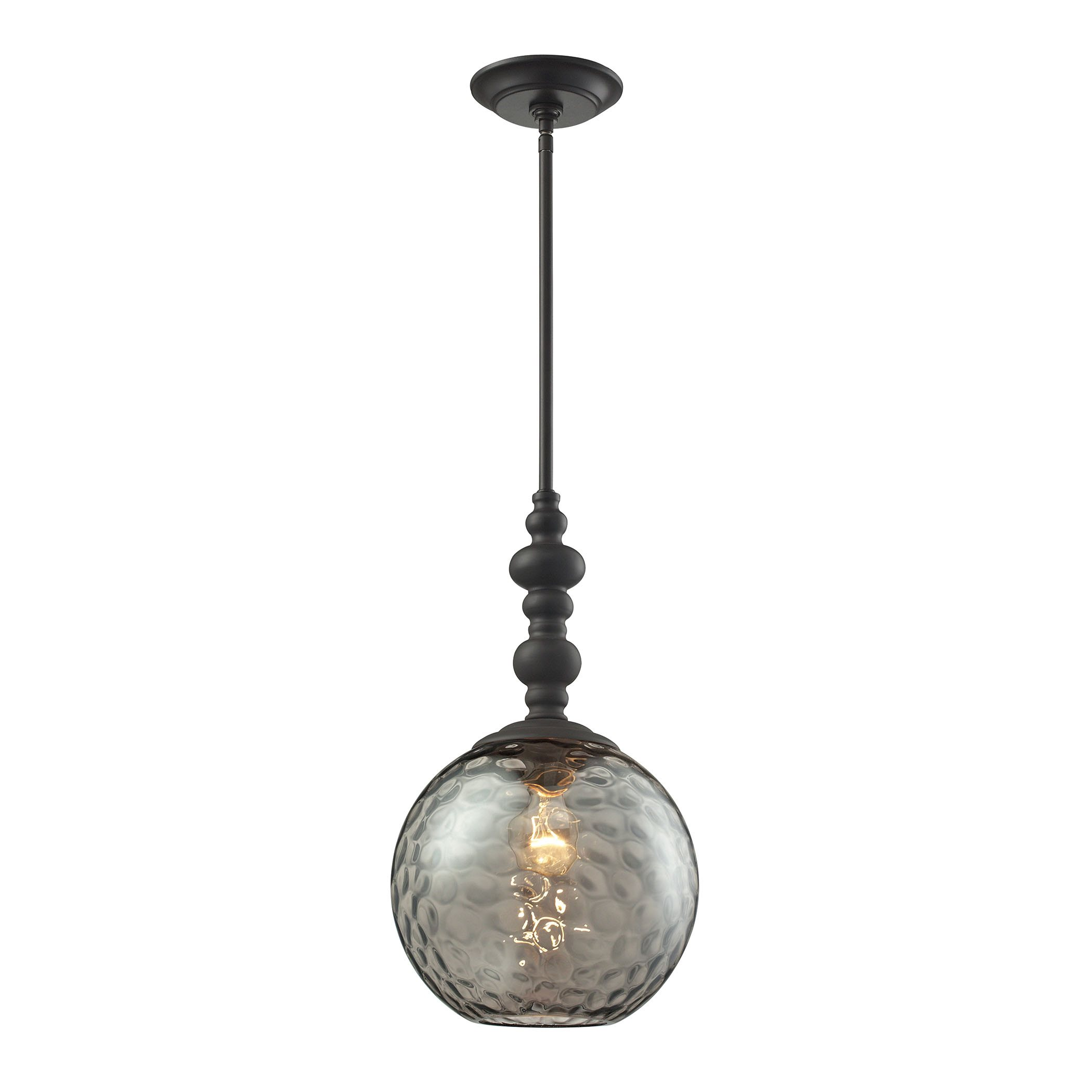 elk watersphere 1 light pendant in oil rubbed bronze and smo