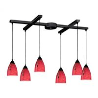 Classico 6 Light Pendant In Dark Rust And Fire Red Glass