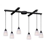 Classico 6 Light Pendant In Dark Rust And Snow White Glass
