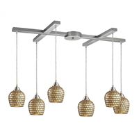 Fusion 6 Light Pendant In Satin Nickel And Gold Leaf Glass