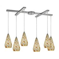 Curvalo 6Lt Pendant In Satin Nickel And Silver Multi Crackle Glass