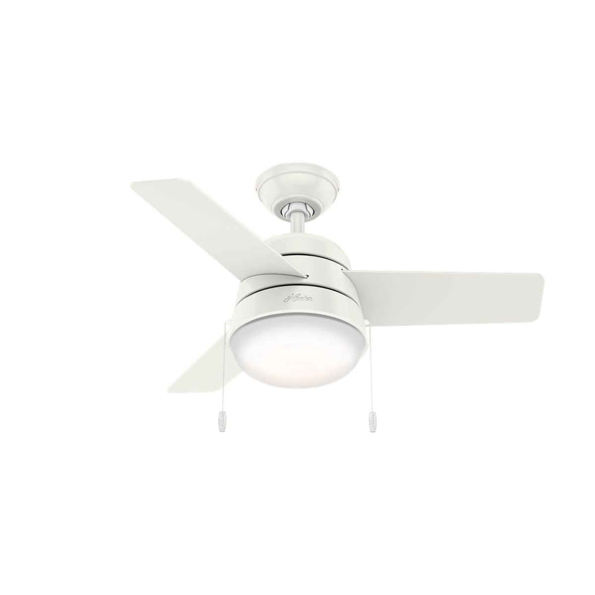 "Hunter Aker 36"" Ceiling Fan with Light Fresh White"