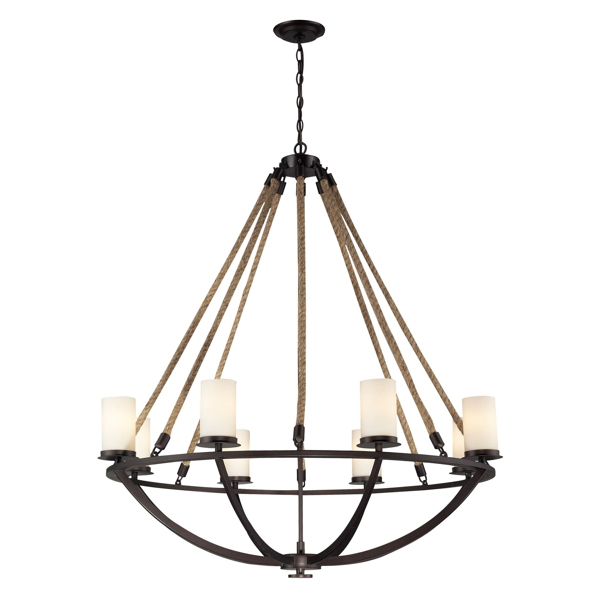 elk natural rope 8 light chandelier in aged bronze and white