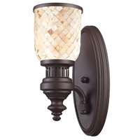 Chadwick 1 Light Wall Sconce In Oiled Bronze And Cappa Shells