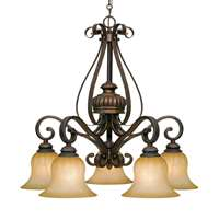 Golden Mayfair 5 Light Nook Chandelier Leather Crackle 7116-D5 LC