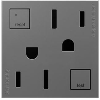 Legrand Adorne GFCI Electrical Outlet in Magnesium Finish (20 Amp) - AGFTR202M4