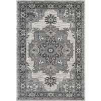 Alexandria Light Gray Bordered Rectangular Accent Rug 2'x3'