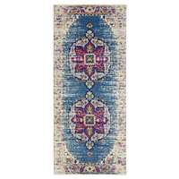 "Manhattan Teal-Pink Medallion Runner Rug 2'6""x6'"