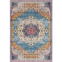 Manhattan Blue-Orange Medallion Rectangular Accent Rug 2'x3'