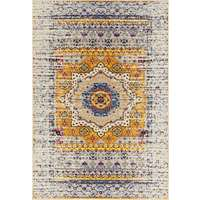 Manhattan Orange-Ivory Medallion Rectangular Accent Rug 2'x3'