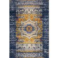 Manhattan Navy-Orange Medallion Rectangular Accent Rug 2'x3'