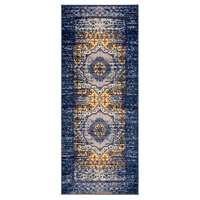 "Manhattan Navy-Orange Medallion Runner Rug 2'6""x6'"