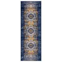 "Manhattan Navy-Orange Medallion Runner Rug 2'6""x7'6"""